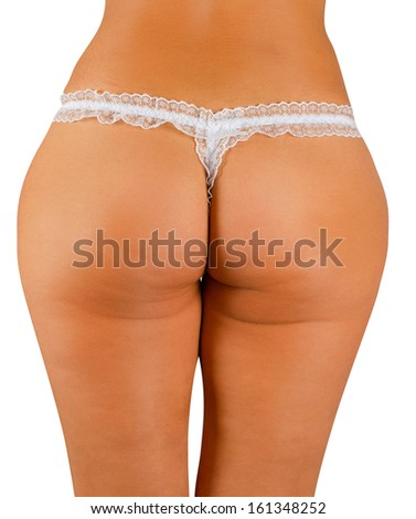 woman buttocks on a white