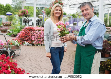 Woman buying a plant at the garden center - stock photo