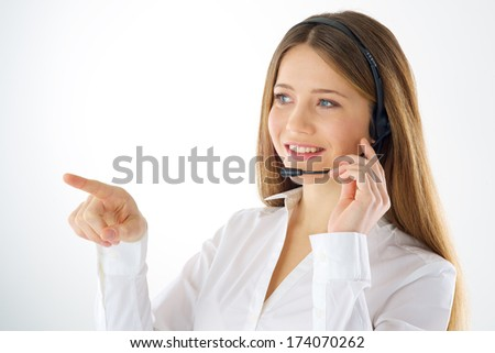 Woman call operator touching imaginary screen with her finger