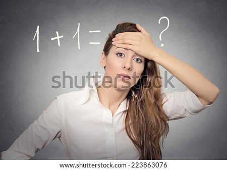 woman can't solve problem - stock photo