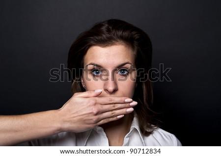 woman can't speak - stock photo