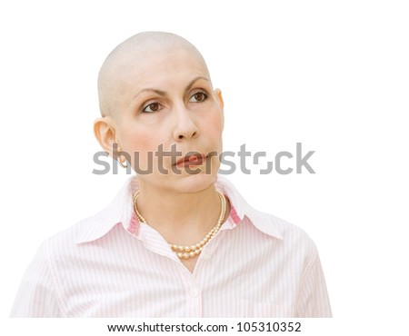 Woman cancer patient undergoing chemotherapy and suffering hair loss. Portrait looking sideways. Real woman diagnosed with ovarian and breast cancer. Isolated over white background.