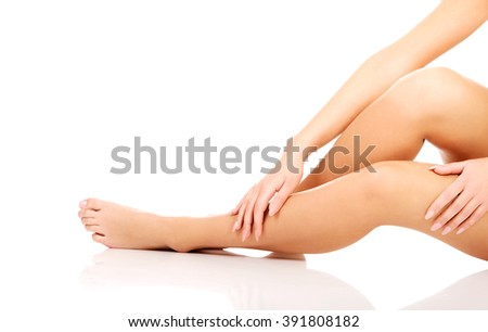 Woman cares about her legs.