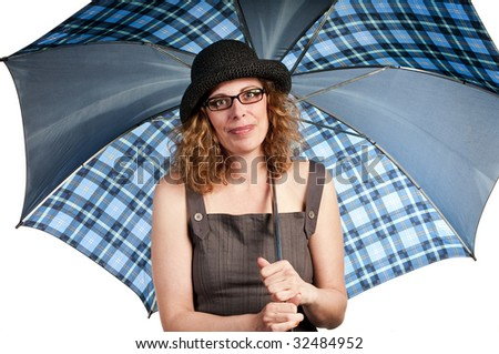 Woman carrying an umbrella on white background - stock photo