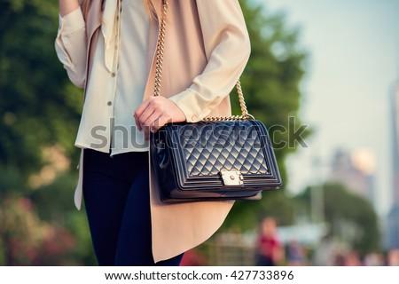 Woman carrying elegant purses bag at city park - stock photo