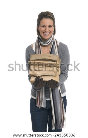 Woman carrying firewood