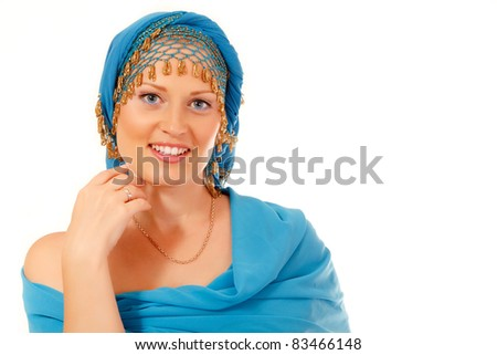 woman caucasian beautiful in blue oriental clothes isolated on white background