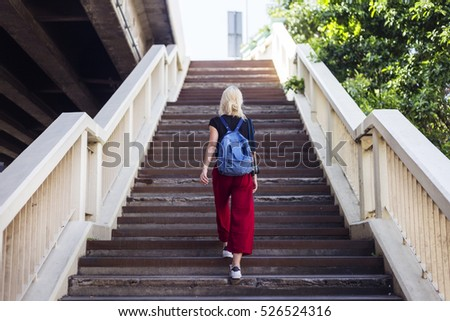 Woman Caucasian Traveler Tour Explore Stair Concept