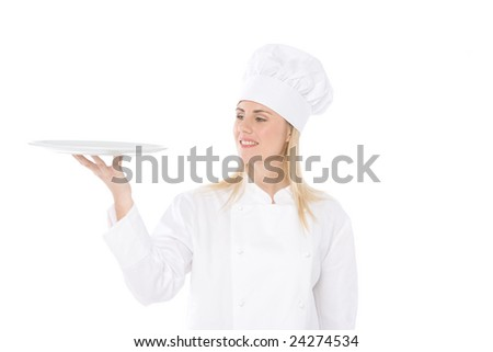 woman chef hold an empty dish isolated on white - stock photo