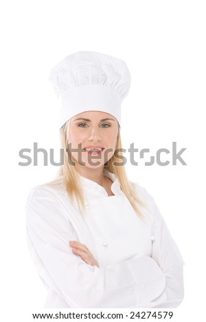 woman chef isolated on white portrait with crossed arms - stock photo
