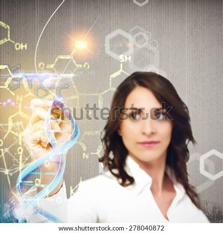 Woman chemist explain chemical formulas in laboratory - stock photo