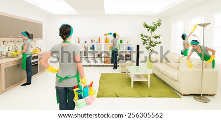 woman cleaning house at the same time in different places while one is supervising progress - stock photo