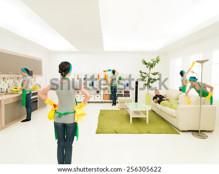woman cleaning house at the same time in different places while one is supervising progress and man rests on couch - stock photo