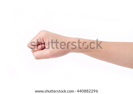woman clenched fist, hand isolated - stock photo