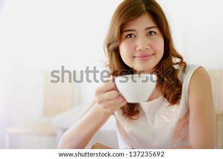 woman coffee cup close up portrait