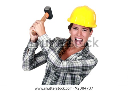 Woman construction worker getting mad