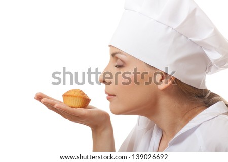 Woman cook holding cake, isolated on white background - stock photo