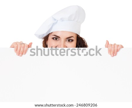 Woman cook in chef hat with blank board, isolated on white background. - stock photo
