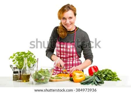 Woman Cooking in the kitchen. - stock photo