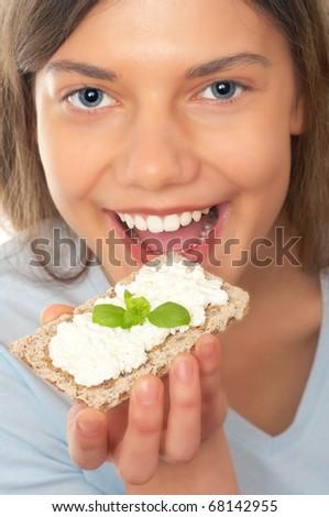woman, cottage cheese, crispbread - stock photo