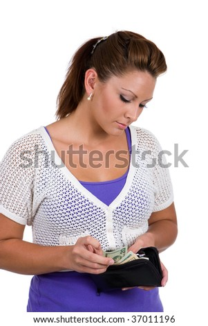 Woman counts her money before going shopping. - stock photo