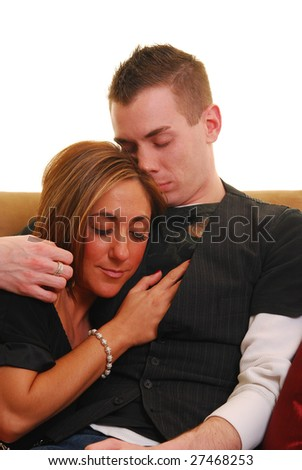 Woman cuddling with her boyfriend