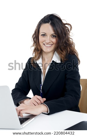 Woman customer service worker, call center smiling operator, on white background
