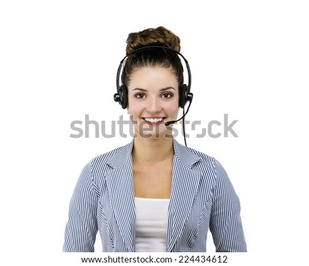 Woman customer service worker, call center smiling operator with phone headset, isolated on white background - stock photo