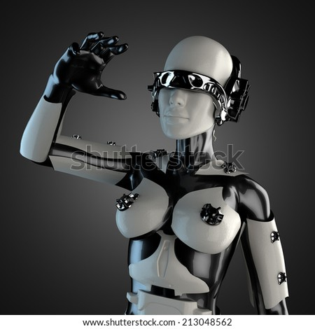 woman cyborg of steel and white plastic - stock photo