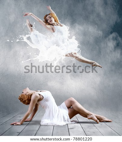 Woman dancer seating posing on background - stock photo