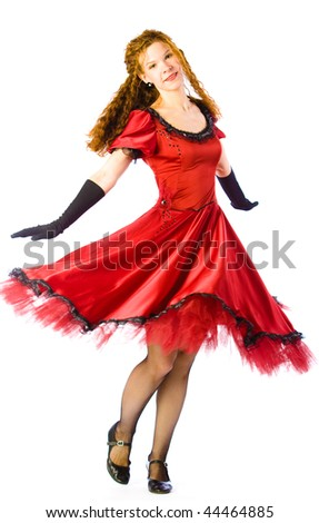 Woman dancing isolated on white - stock photo