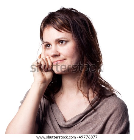 Woman deep in thought - stock photo