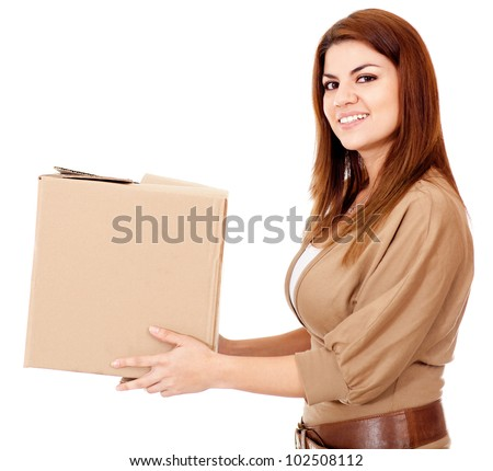 Woman delivering a package - isolated over a white background - stock photo