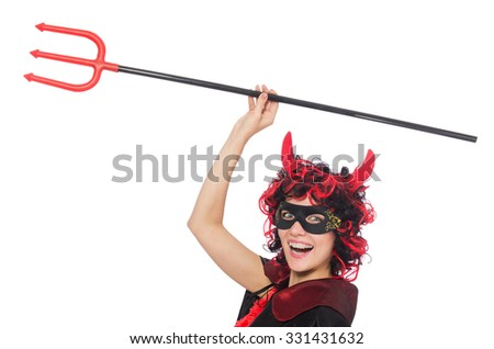 Woman devil in funny halloween concept - stock photo