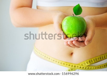 woman dieting and exercise - stock photo