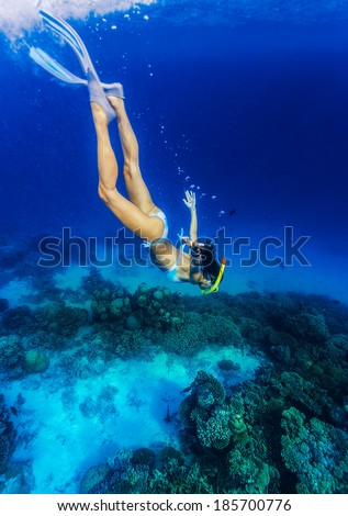 Woman diving to the sea bottom, watching for beautiful marine life, people activity on Maldives, summer adventure, extreme sport - stock photo