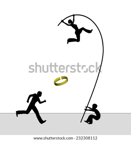 Woman divorcing. Concept sign of wife leaving husband and child - stock photo