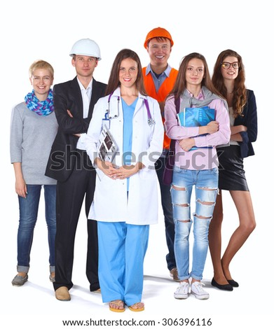 Woman doctor and a group of workers people