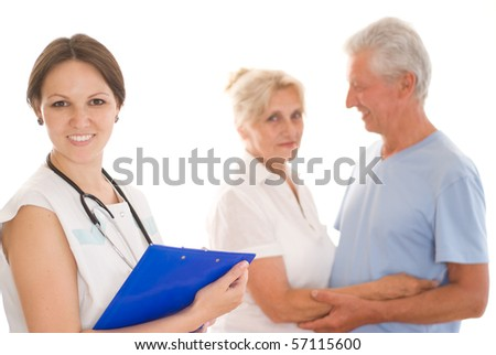 woman doctor and an couple on a white - stock photo