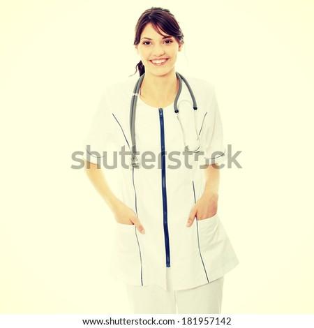 Woman doctor or nurse - stock photo