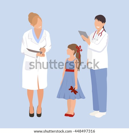 Woman doctor pediatrician and nurse examines a child. Ask little girl about health issues. Flat style  illustration isolated on white background. - stock photo