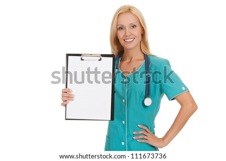 Woman doctor showing clipboard with copy space for your text or design - stock photo