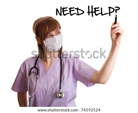 woman doctor writing NEED HELP? on whiteboard over white background