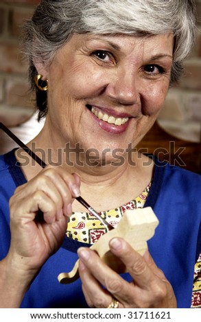 Woman doing crafts - stock photo