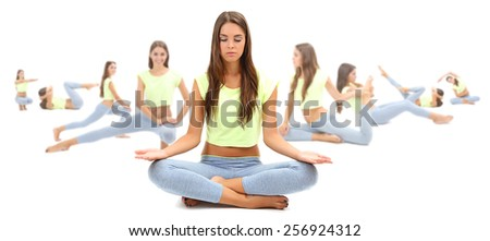 Woman doing exercises, yoga isolated on white, different poses in collage - stock photo