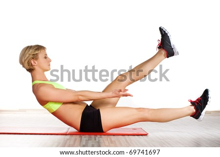 Woman doing fitness exercise