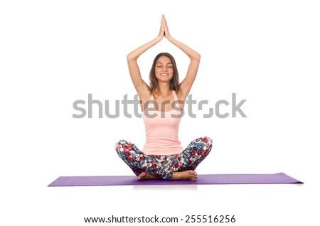 Woman doing sport exercises isolated on white - stock photo