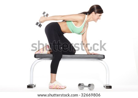 Woman Doing Tricep Workout - stock photo
