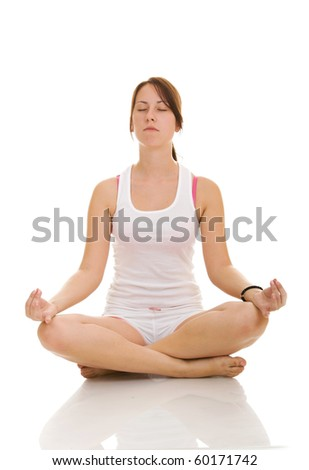 Woman doing yoga isolate on white background - stock photo