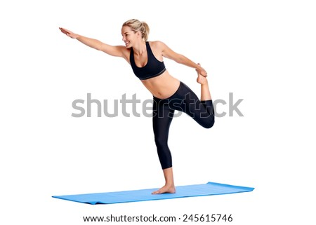 Woman doing yoga poses isolated on white background - stock photo